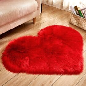 red heart faux fur area rug