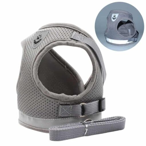 gray cat breathable harness by fur best