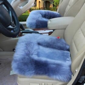 blue fluffy car seat cover