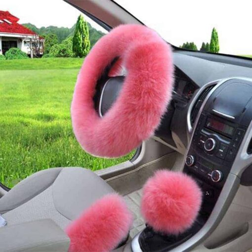 Pink Fluffy Steering Wheel Cover