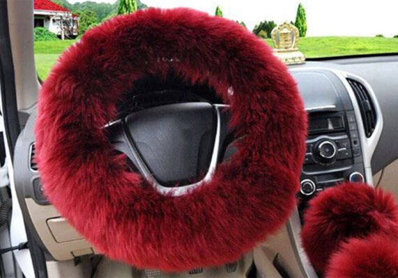 red faux fur steering wheel cover