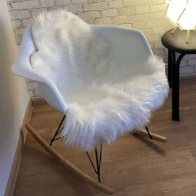 white fuzzy chair cover